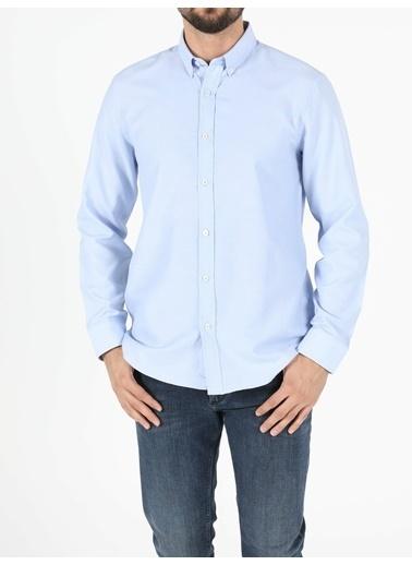 Colin's Regular Fit Shirt Neck Erkek Açık Mavi Uzun Kol Gömlek Lacivert
